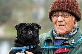 elderly woman owning pets